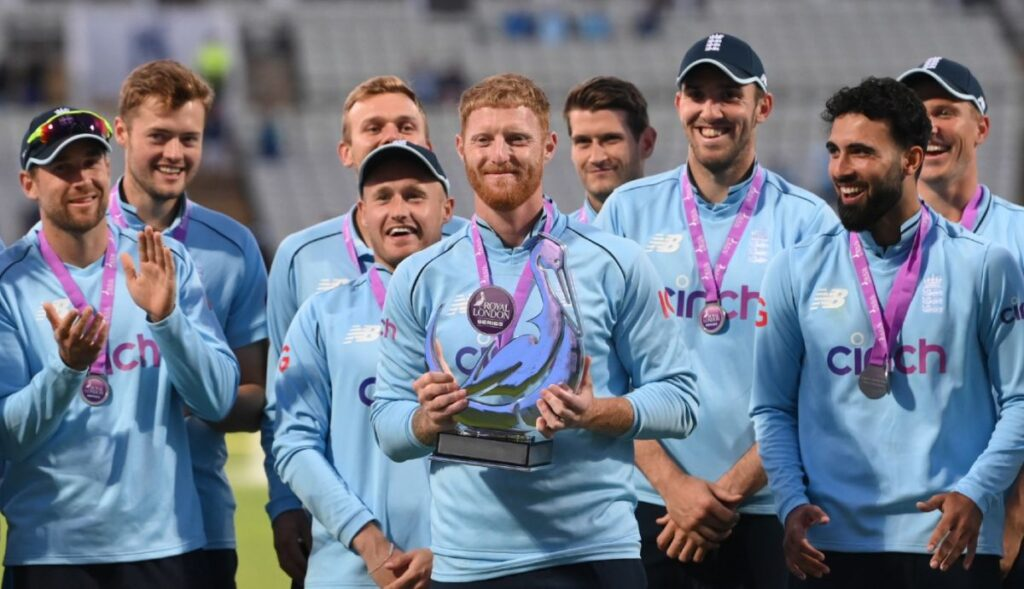Ben Stokes with trophy
